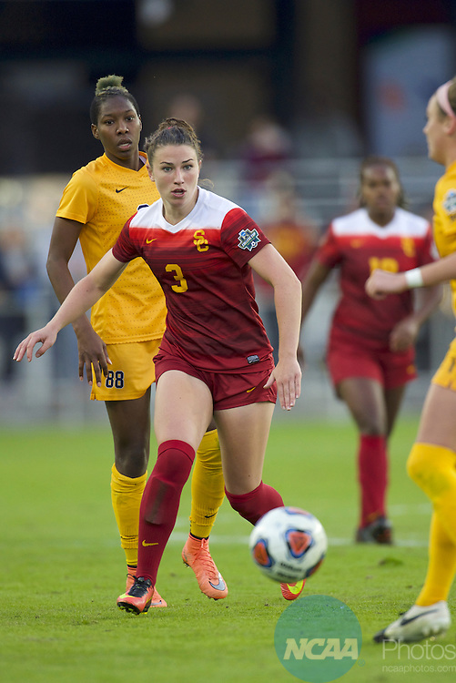 SAN JOSE, CA - DECEMBER 04:  Morgan Andrews (3) of the University of Southern California collects the ball against West Virginia University during the Division I Women's Soccer Championship held at Avaya Stadium on December 04, 2016 in San Jose, California.  USC defeated West Virginia 3-2 for the national title. (Photo by Jamie Schwaberow/NCAA Photos via Getty Images)