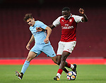Arsenal's Josh Da Silva tussles with Manchester City's  Lorenzo Gonazalez during the premier league 2 match at the Emirates Stadium, London. Picture date 21st August 2017. Picture credit should read: David Klein/Sportimage