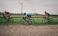 """sometimes the grass offers better grip then the actual 'road'... especially in the corners!<br /> <br /> Antwerp Port Epic 2018 (formerly """"Schaal Sels"""")<br /> One Day Race:  Antwerp > Antwerp (207 km; of which 32km are cobbles & 30km is gravel/off-road!)"""