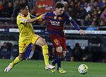 23.04.2016 Barcelona. Liga BBVA day 35. Picture show Leo Messi and Mascarell in action during game between FC Barcelona against Real Sporting at Camp nou
