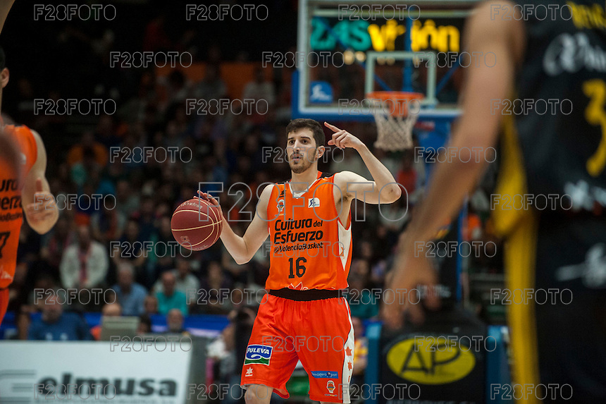 VALENCIA, SPAIN - APRIL 24: Guillem Vives during ENDESA LEAGUE match between Valencia Basket Club and Iberostar Gran Canaria at Fonteta Stadium on April, 2016 in Valencia, Spain