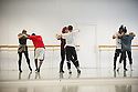 "Choreographer, Lee Griffiths' The Company, in the rehearsal studio at The Place, preparing for Resolution 2016, where they will present her feminist work, ""Behind Every Man"". The Company is: Lee Griffiths (choreographer), Charlotte Blakeman, Christina Dion, Jordan Douglas, Pola Krawczuk, Joshua Nash, Sean Osinlaru, Ezra Owen, Hayleigh Sellors."