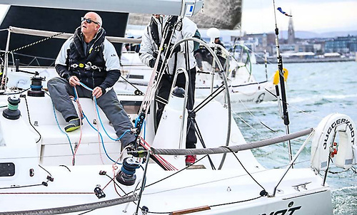Ian O'Meara on the mainsheet of Andrew Algeo's J/109 Juggerknot