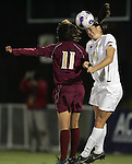 9 November 2007: Wake Forest's Caitlin Farrell (20) wins a header over Florida State's Mami Yamaguchi (11). Florida State University defeated Wake Forest University 5-2  at the Disney Wide World of Sports complex in Orlando, FL in an Atlantic Coast Conference tournament semifinal match.