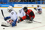 Pyeongchang, Korea, 18/3/2018-Tyler McGregor  compete in the gold medal ice game against the USA during the 2018 Paralympic Games. Photo: Scott Grant/Canadian Paralympic Committee.