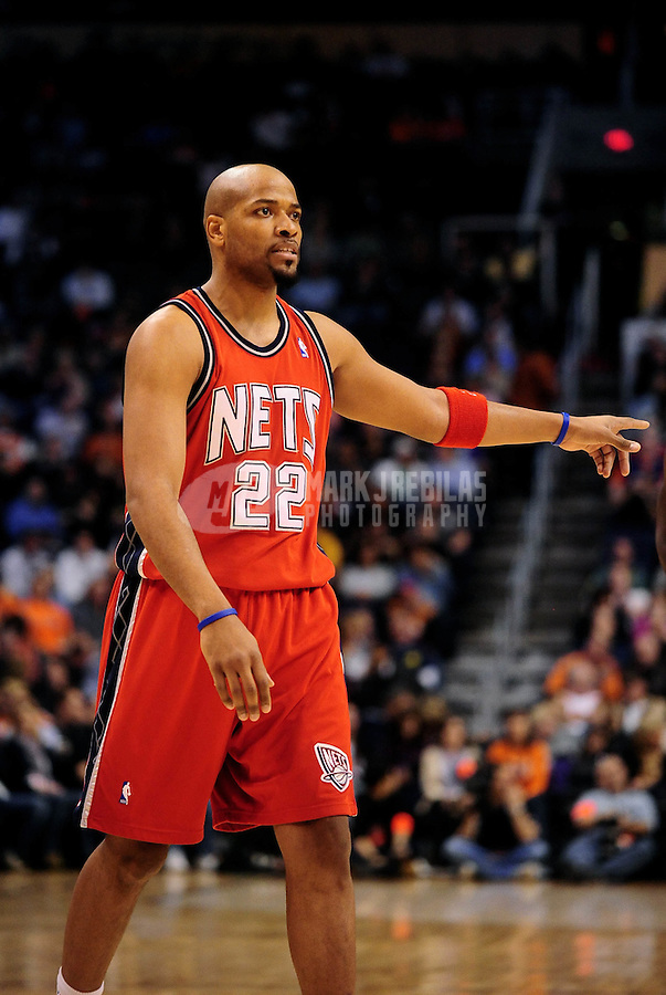 Jan. 20, 2010; Phoenix, AZ, USA; New Jersey Nets forward (22) Jarvis Hayes against the Phoenix Suns at the US Airways Center. The Suns defeated the Nets 118-94. Mandatory Credit: Mark J. Rebilas-