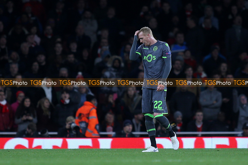 Jeremy Mathieu of Sporting Lisbon walks towards the dressing room after being shown a red card during Arsenal vs Sporting Lisbon, UEFA Europa League Football at the Emirates Stadium on 8th November 2018