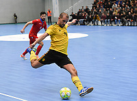 20200129 – Herentals , BELGIUM : Belgian Omar Rahou pictured during a futsal indoor soccer game between Armenia and  the Belgian Futsal Devils of Belgium on the first matchday in group B of the UEFA Futsal Euro 2022 Qualifying or preliminary round , Wednesday 29 th January 2020 at the Sport Vlaanderen sports hall in Herentals , Belgium . PHOTO SPORTPIX.BE | DAVID CATRY