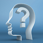 Conceptual shot of human head with question mark depicting confusion