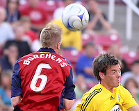 Nat Borchers and Brad Evans in the 2-0  Real Salt Lake win at Rice Eccles Stadium  in Salt Lake City, Utah on  July 12, 2008.