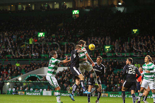 02.03.2016. Celtic Park, Glasgow, Scotland. Scottish Premier League. Celtic versus Dundee. Charlie Mulgrew flashes a header close