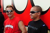 Nov. 2, 2008; Las Vegas, NV, USA: NHRA top fuel dragster driver J.R. Todd (right) and Brandon Bernstein during the Las Vegas Nationals at The Strip in Las Vegas. Mandatory Credit: Mark J. Rebilas-