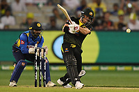 1st November 2019; Melbourne Cricket Ground, Melbourne, Victoria, Australia; International T20 Cricket, Australia versus Sri Lanka; David Warner of Australia pulls the ball - Editorial Use