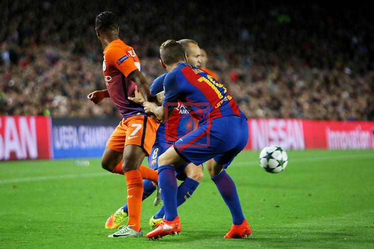 UEFA Champions League 2016/2017 - Matchday 3.<br /> FC Barcelona vs Manchester City FC: 4-0.<br /> Raheem Sterling vs Lucas Digne.