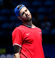 7th January 2020; RAC Arena, Perth, Western Australia; ATP Cup Australia, Perth, Day 5; Russia versus Norway; Karen Khachanov of Russia reacts to his shot against Viktor Durasovic of Norway - Editorial Use