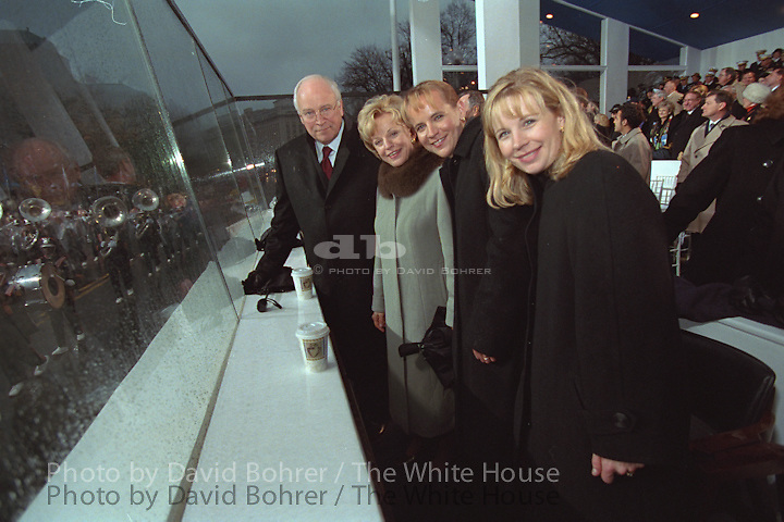 Vice President Cheney, Lynne Cheney, Mary Cheney and Liz Cheney Perry take a picture:  Inaugural Parade 2001.