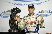 Nov. 15, 2008; Homestead, FL, USA; NASCAR Nationwide Series driver Carl Edwards celebrates after winning the Ford 300 at Homestead Miami Speedway. Mandatory Credit: Mark J. Rebilas-