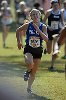 NWA Democrat-Gazette/ANDY SHUPE<br /> Rogers' Hailey Day nears the finish line Saturday, Oct. 5, 2019, during the Chile Pepper Cross Country Festival at Agri Park in Fayetteville. Visit nwadg.com/photos to see more photographs from the races.