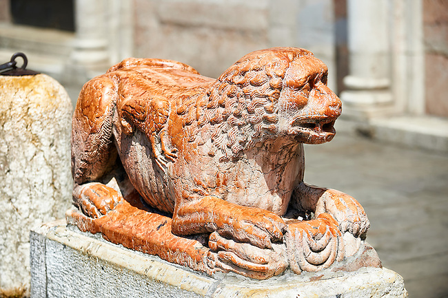 Lion statue from the destoyed south door of the 12th century Romanesque Ferrara Duom, Italy