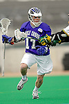10 April 2007: Holy Cross Crusaders' Grant Cowherd, a Senior from Summit, NJ, in action against the University of Vermont Catamounts at Moulton Winder Field, in Burlington, Vermont. The Crusaders rallied to defeat the Catamounts 5-4...Mandatory Photo Credit: Ed Wolfstein Photo