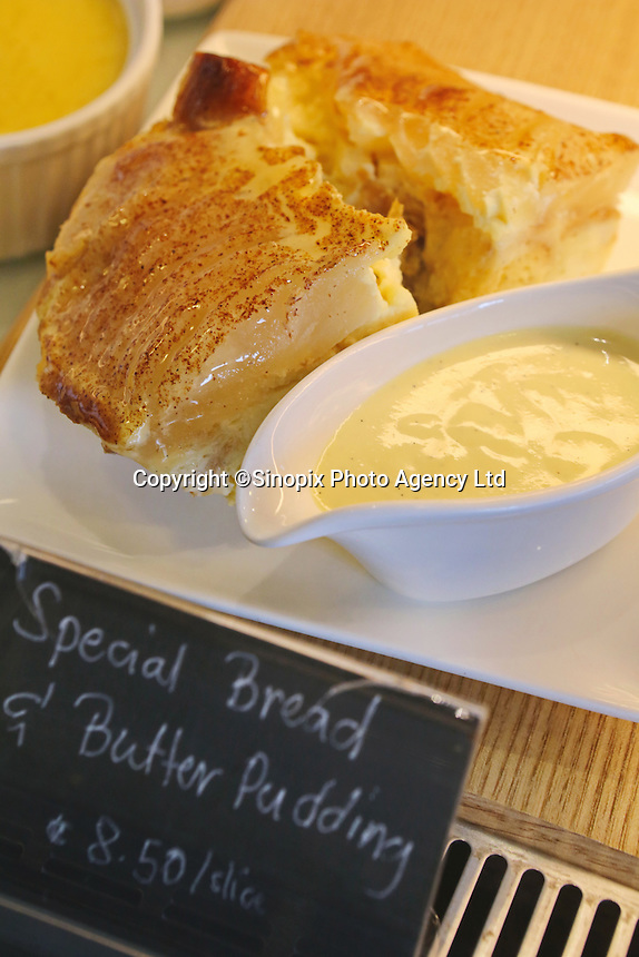 Bread pudding at The Bakery Cafe on the popular Tiong Bahru Cafe street in Singapore.