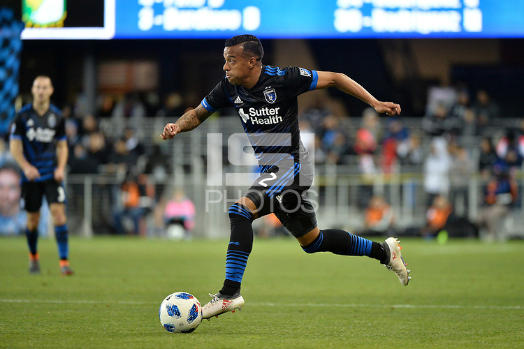 San Jose, CA - Saturday March 24, 2018: Joel Qwiberg during an international friendly between the San Jose Earthquakes and Club Leon FC at Avaya Stadium.