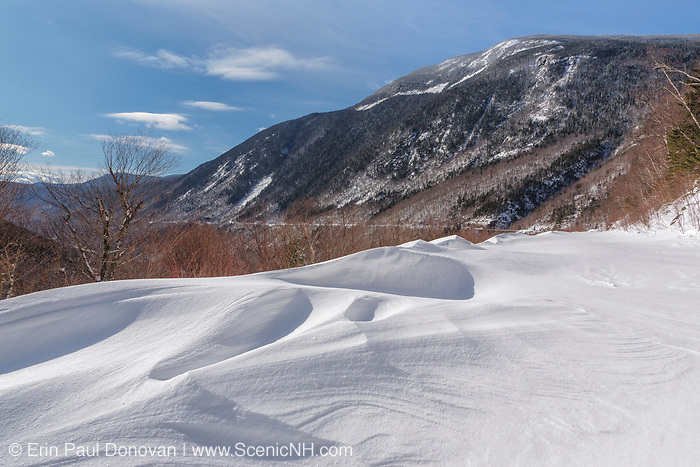Crawford Notch State Park - Willey Range from the Maine Central Railroad in the White Mountains, New Hampshire USA during the winter months.