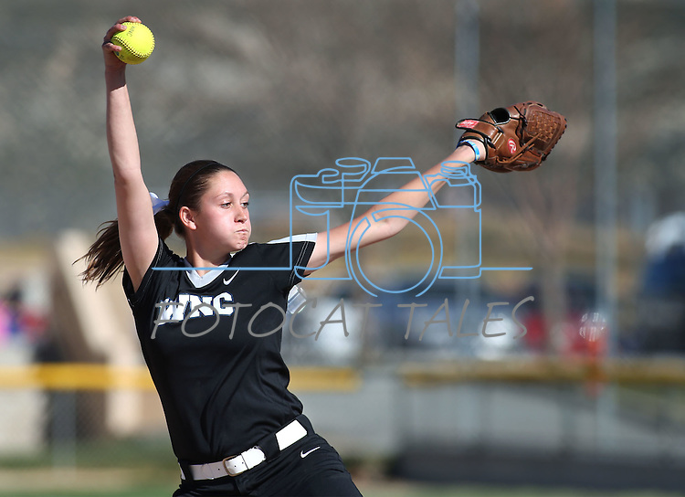 Western Nevada's McKell Marble pitches against College of Southern Nevada at Edmonds Sports Complex in Carson City, Nev., on Friday, April 1, 2016. <br />