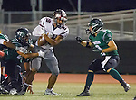 Torrance, CA 10/09/15 - Sean Fitzgerald (South #42), Jeremiah Aiono (Torrance #28) and Trevor Talpas (South #8) in action during the Torrance vs South High varsity football game.  South defeated Torrance 24-21.
