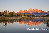 67545-09503 Sunrise at Schwabacher Landing in fall, Grand Teton National Park, WY