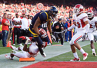 Marvin Jones of California leaps over end zone to score a touchdown during the game against Fresno State at Candlestick Park in San Francisco, California on September 3rd, 2011.  California defeated Fresno State, 36-21.