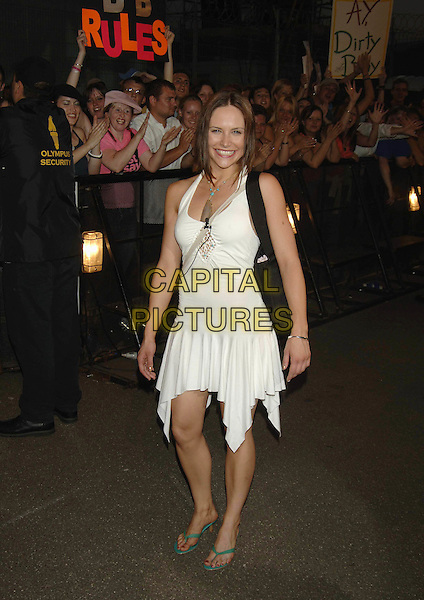 "SAM HEUSTON.""Big Brother 6"" House re-opens: contestants enter the house at Elstree Studios, Hertfordshire,.27th May 2005..full length white halterneck dress.Ref: PL.www.capitalpictures.com.sales@capitalpictures.com.©Capital Pictures"