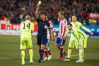 Atletico de Madrid´s Fernando Torres and Barcelona´s Javier Mascherano, Andres Iniesta and Jordi Alba during 2014-15 Spanish King Cup match between Atletico de Madrid and Barcelona at Vicente Calderon stadium in Madrid, Spain. January 28, 2015. (ALTERPHOTOS/Luis Fernandez) /nortephoto.com<br />