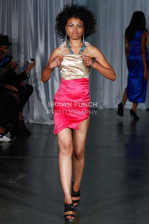 Model walks runway in an outfit from the Maxwell High School Spring Summer 2014 collection fashion show, during Fashion Week Brooklyn Spring Summer 2014 on October 3, 2013.