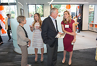 The newly remodeled Occidental College Hameetman Career Center, home to Career Services, National and International Awards and Pre-Health Advising offices, is dedicated by Joyce and Fred Hameetman '62. Trustees, alumni, students and staff were on hand to celebrate the ribbon cutting dedication, April 17, 2016.<br /> (Photo by Marc Campos, Occidental College Photographer)