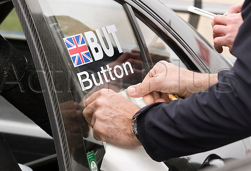 20.05.2012 Brands Hatch, Mercedes F1 driver Jenson Button's name is put on Gary Pafatt's car prior to his session out on track  before Sunday's Raceday in the 2012 DTM Championship, Kent, England