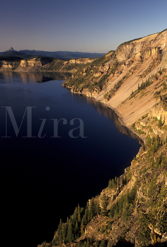 AJ3745, Crater Lake, Crater Lake National Park, Cascade Range, Cascade Mountains, Oregon, Scenic view of the deep blue waters of Crater Lake in Crater Lake Nat'l Park in the state of Oregon.