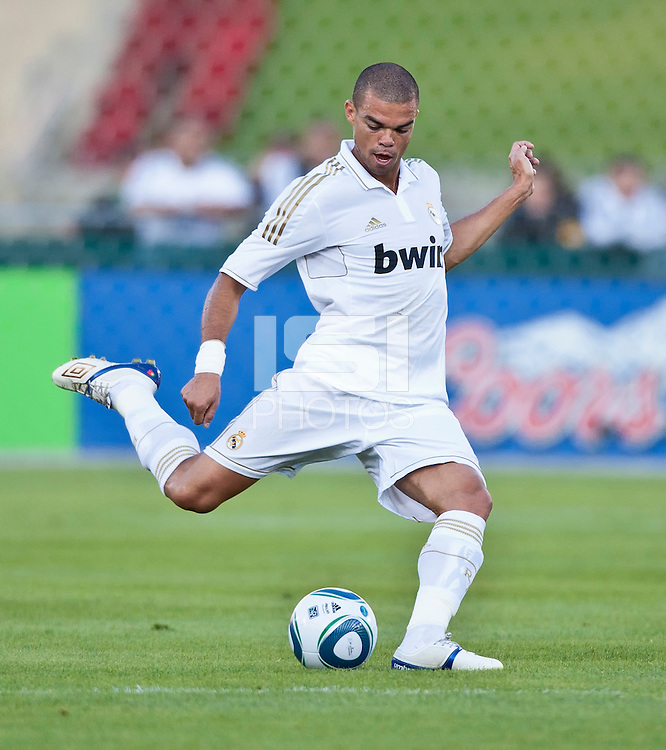 LOS ANGELES, CA – July 16, 2011: Pepe (3) of Real Madrid during the match between LA Galaxy and Real Madrid at the Los Angeles Memorial Coliseum in Los Angeles, California. Final score Real Madrid 4, LA Galaxy 1.