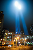 The twin beams of Tribute In Light shoot skyward for the tenth anniversary of the September 11 terrorist attacks in New York, seen on Sunday, September 11, 2011. (© Richard B. Levine)