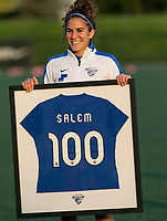 Allston, Massachusetts - September 10, 2017:  In a National Women's Soccer League (NWSL) match, Portland Thorns FC (red) defeated Boston Breakers (blue), 1-0, at Jordan Field.<br /> <br /> Angela Salem recognized for 100th career game.