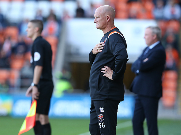Blackpool manager Simon Grayson <br /> <br /> Photographer Stephen White/CameraSport<br /> <br /> The EFL Sky Bet League One - Blackpool v Portsmouth - Saturday 31st August 2019 - Bloomfield Road - Blackpool<br /> <br /> World Copyright © 2019 CameraSport. All rights reserved. 43 Linden Ave. Countesthorpe. Leicester. England. LE8 5PG - Tel: +44 (0) 116 277 4147 - admin@camerasport.com - www.camerasport.com