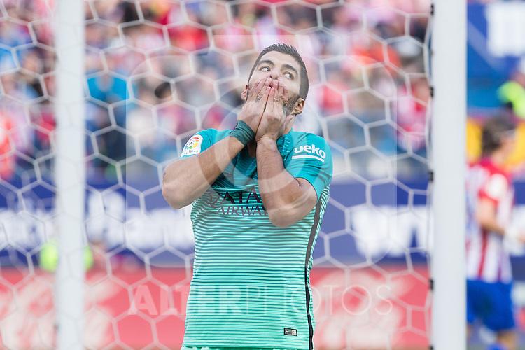 Luis Suarez of Futbol Club Barcelona reacts  during the match of Spanish La Liga between Atletico de Madrid and Futbol Club Barcelona at Vicente Calderon Stadium in Madrid, Spain. February 26, 2017. (ALTERPHOTOS)
