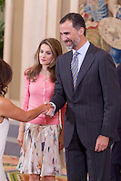 Prince Felipe of Spain and Princess Letizia of Spain receive the participants of the I edition of the course for young iberoamerican journalists and the XI edition of the Young Iberoamerican Leaders Program during the audience in Zarzuela Palace, in Madrid, Spain. July 11, 2012. (Victor J Blanco/Alterphotos) ©NortePhoto