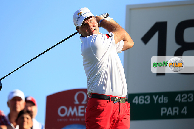 Thomas Levet (FRA) tees off the 18th tee during Friday's Round 2 of the Portugal Masters at the Oceanico Victoria Golf Course, Vilamoura, Portugal 12th October 2012 (Photo Eoin Clarke/www.golffile.ie)