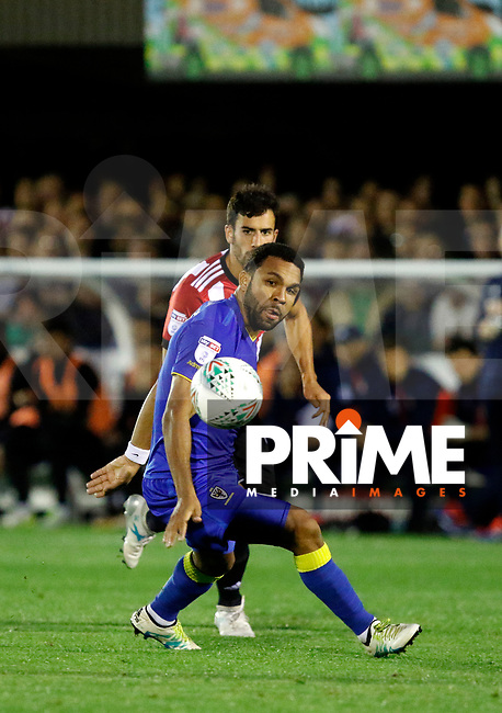 AFC Wimbledon's Andy Barcham in action during the Carabao Cup match between AFC Wimbledon and Brentford at the Cherry Red Records Stadium, Kingston, England on 8 August 2017. Photo by Carlton Myrie.