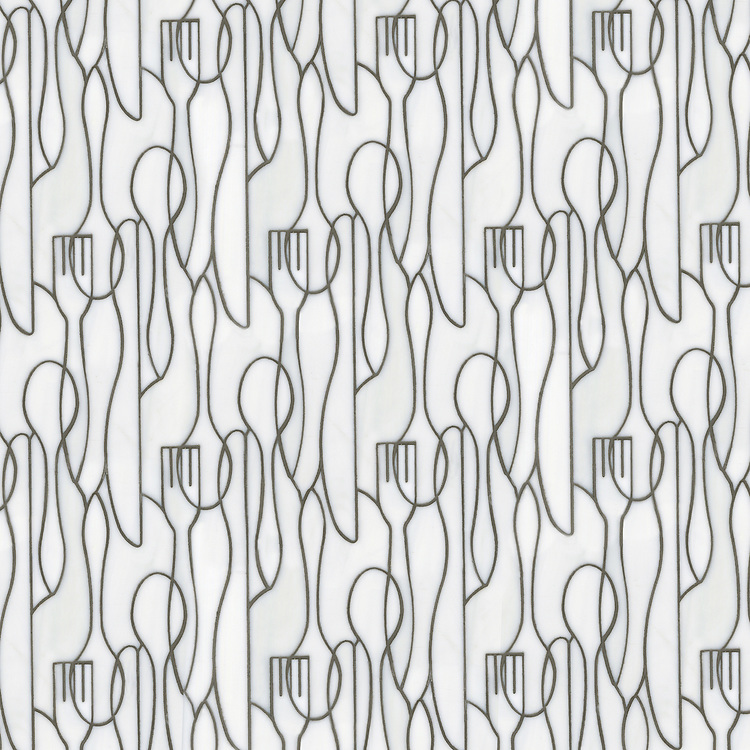 Forks Knives and Spoons, a waterjet jewel glass mosaic, shown in Moonstone, is part of the Erin Adams Collection for New Ravenna.