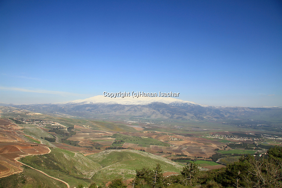 Israel, Upper Galilee, a view of the Hula valley from Kibbutz Misgav Am, the Golan Heights and Mount Hermon are in the background