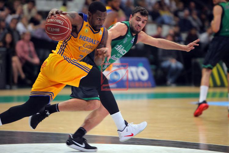 League ACB-ENDESA 2016/2017. Game: 28.<br /> Divina Seguros Joventut vs Herbalife Gran Canaria: 86-72.<br /> Bo McCalebb vs Albert Ventura.