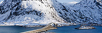 Panoramic view of bridge over Selfjord connecting Flakstadøya and Moskenesøya at Fredvang, Lofoten islands, Norway