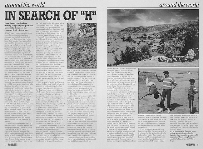 Article written for 'Professional Photographer' magazine, on photographing the cannabis fields in the Rif mountains, northern Morocco.